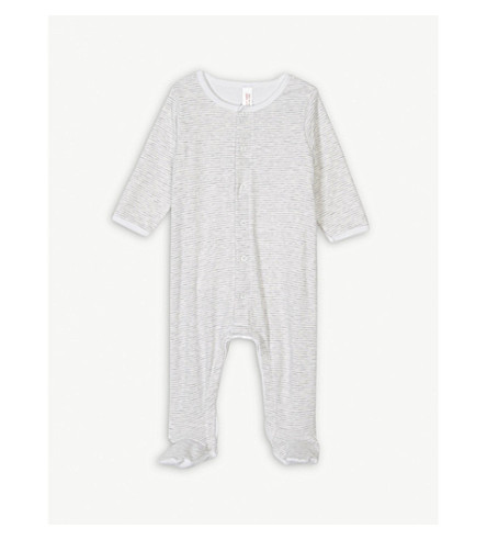 PETIT BATEAU Stripe print cotton sleepsuit 0-12 months (Grey+/+ecume+white