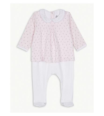 PETIT BATEAU Lace collar cotton blouse bodysuit newborn-12 months (Pink+/+multico+white