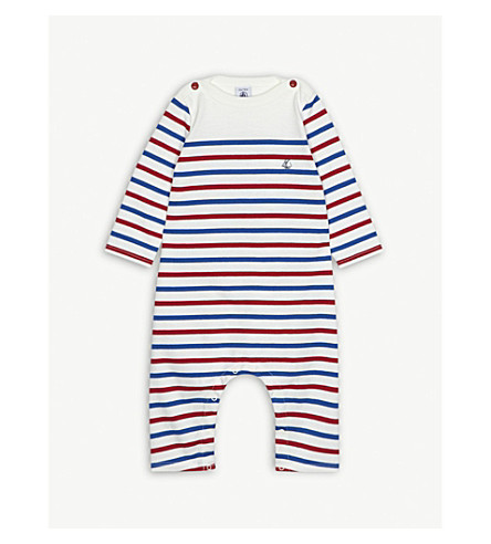 PETIT BATEAU Striped cotton all-in-one 3-24 months (Multico+white