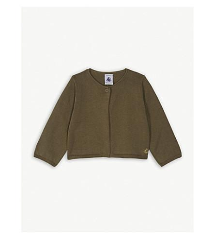 PETIT BATEAU Knitted cotton bolero cardigan 6-36 months (Shitake+brown