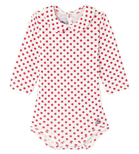 PETIT BATEAU Printed long sleeved cotton bodysuit (Flashy+pink