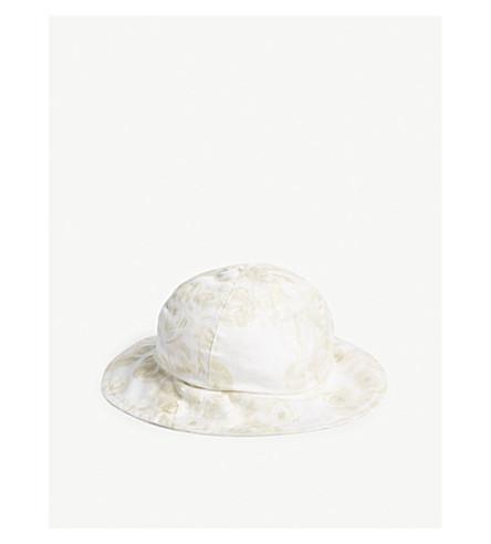 PETIT BATEAU Glitter floral cotton hat (Multico+white