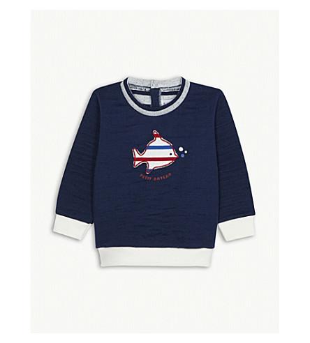 PETIT BATEAU Fish cotton sweatshirt 3-36 months (Medieval+blue