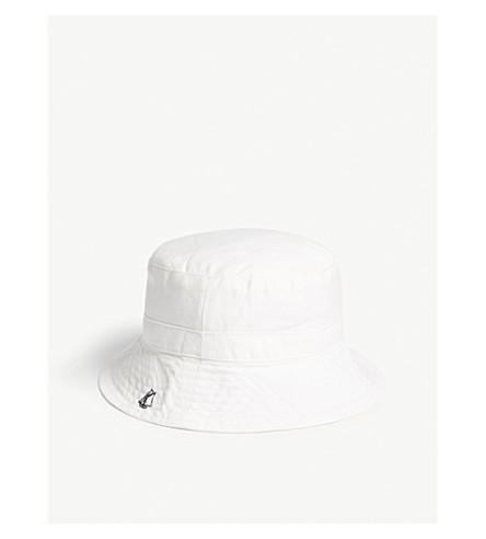 PETIT BATEAU Cotton twill bucket hat 3-36 months (Marshmallow+white