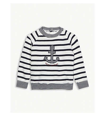 PETIT BATEAU Anchor striped cotton sweatshirt 3-36 months (White+and+blue