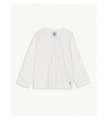 PETIT BATEAU Boat logo cotton cardigan (Marshmallow+white