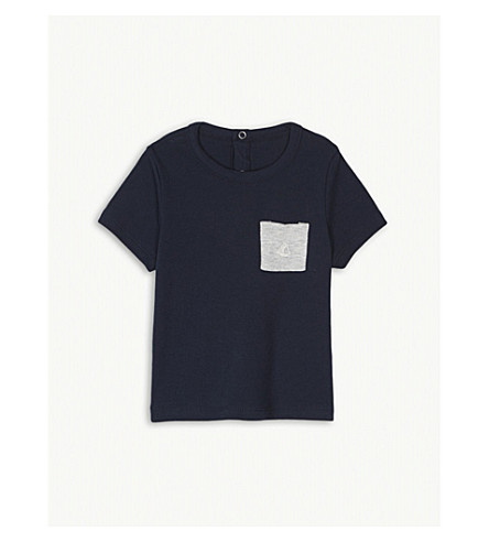 PETIT BATEAU Breast pocket cotton T-shirt 3-36 months (Smoking+blue