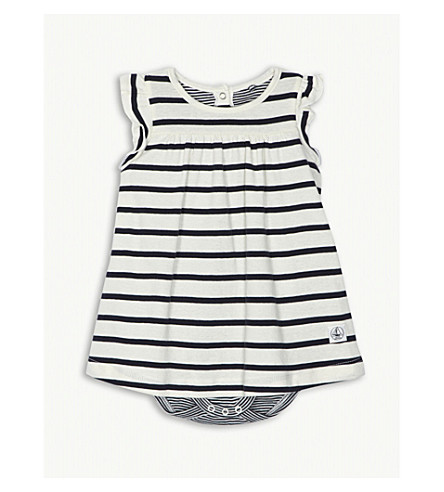 PETIT BATEAU Striped cotton bodysuit dress 1-12 months (Beige+and+blue