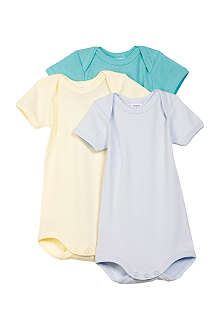 PETIT BATEAU Three-pack envelope-neck bodysuits 3-36 months