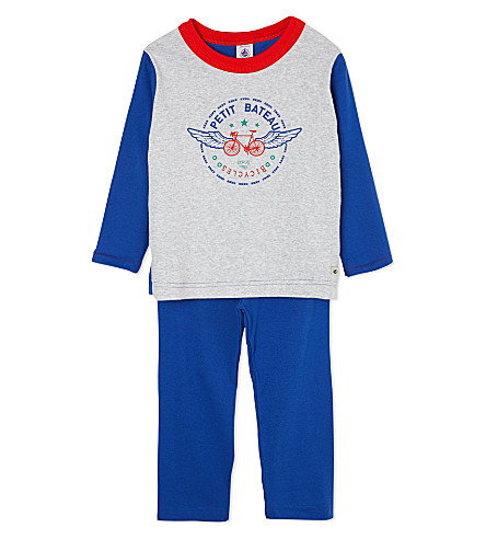 PETIT BATEAU Cotton pyjamas 2-12 years (Dark blue//poussiere