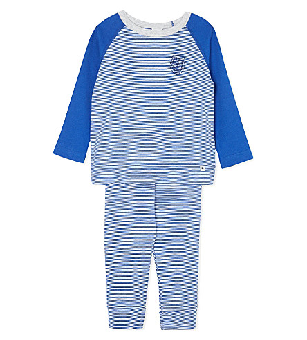 PETIT BATEAU Stripy pyjamas 2-12 years (Dark blue/off white
