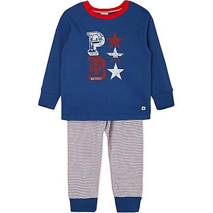 PETIT BATEAU Cotton striped pyjamas 2-12 years (Blue grey/multicolor