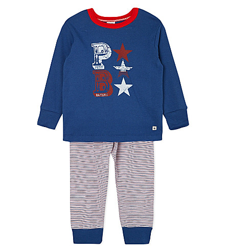 PETIT BATEAU Cotton striped pyjamas 2-12 years (Blue grey/multicolor