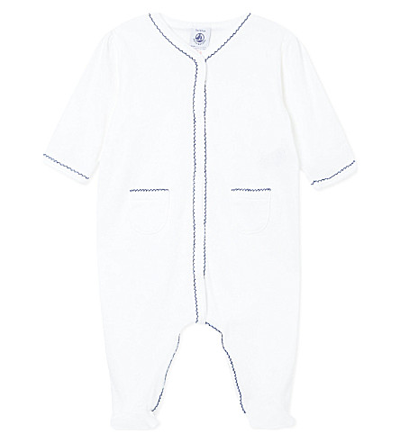 PETIT BATEAU Stars long-sleeved sleepsuit Small newborn-12 months (Off white/germain
