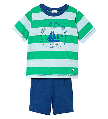 PETIT BATEAU Striped cotton-jersey pyjamas 2-10 years (Multicolor