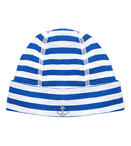 PETIT BATEAU Newborn striped baby hat (Off white/dark blue