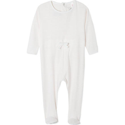 PETIT BATEAU Striped sleepsuit newborn-24 months (Off white/pink