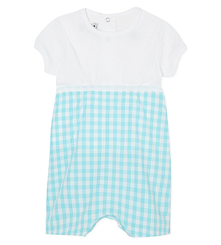 PETIT BATEAU T-shirt & shorts all-in-one 1-24 months (Off white/turquoise