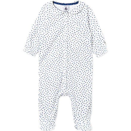 PETIT BATEAU Floral-print sleepsuit (Off white/dark blue