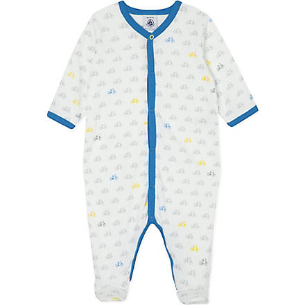 PETIT BATEAU Bicycle print sleepsuit 0-24 months (Off white/multicolor