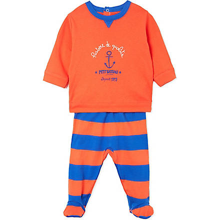 PETIT BATEAU Striped cotton pyjamas 3-24 months (Gingembre/pablito