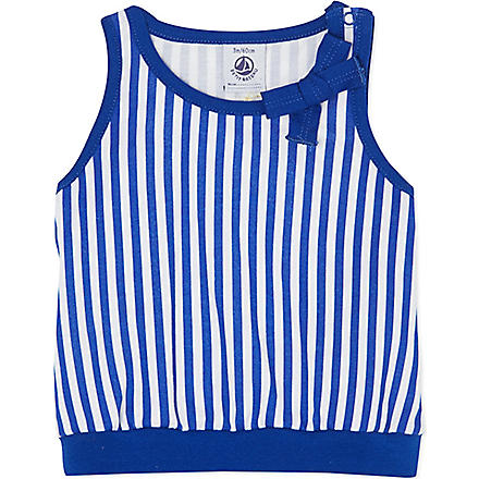 PETIT BATEAU Striped jersey vest 3-36 months (Off white/dark blue
