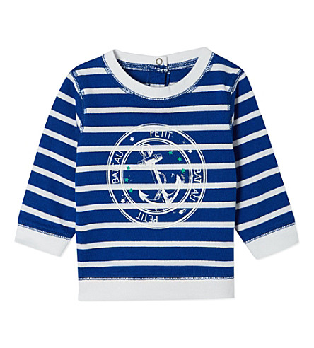 PETIT BATEAU Baby boy sweatshirt 3-36 months (Dark+blue/off+white