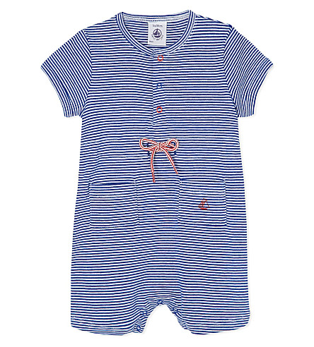 PETIT BATEAU Striped babygrow 3-24 months (Dark blue/off white