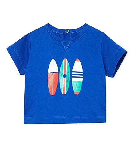 PETIT BATEAU 冲浪板印刷 T 恤 3-36 月 (暗 + 蓝