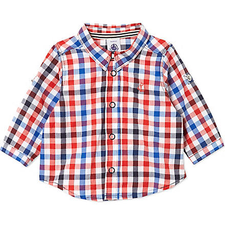 PETIT BATEAU Baby boy long-sleeved gingham (Dark blue/multicolor