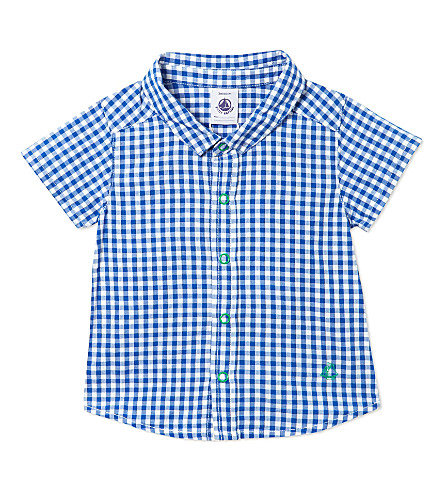 PETIT BATEAU Short sleeved gingham shirt 3-36 months (Dark+blue/off+white