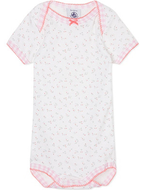 PETIT BATEAU Short-sleeved floral baby-grow 3-36 months