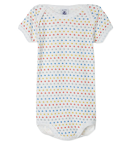 PETIT BATEAU Baby boy short-sleeved bodysuit 3-36 months (Off+white/multicolor