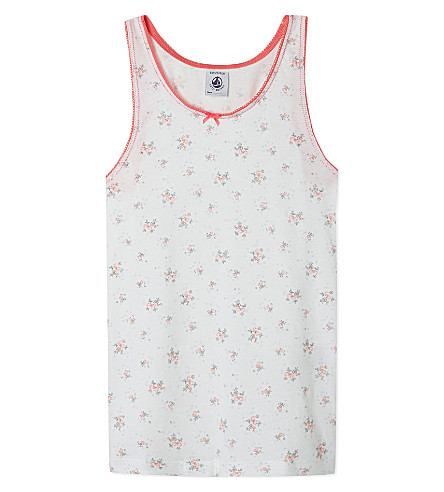 PETIT BATEAU Floral vest top 2-10 years (Off+white/multicolor