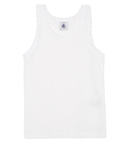 PETIT BATEAU Jersey vest top 2-12 years (Off+white