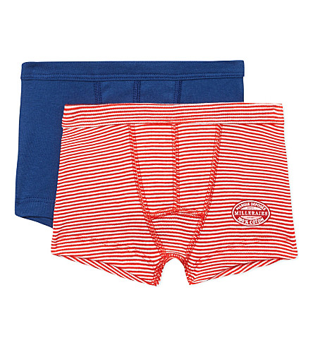 PETIT BATEAU 两件装棉四角内裤 2-12 岁(多色