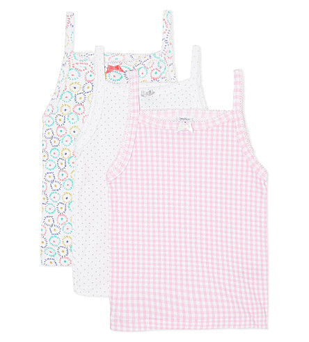 PETIT BATEAU Pack of three vests 2-12 years (Multicolor