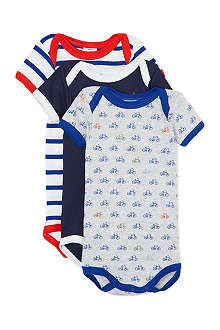 PETIT BATEAU Pack of three striped bodysuits 1-36 months