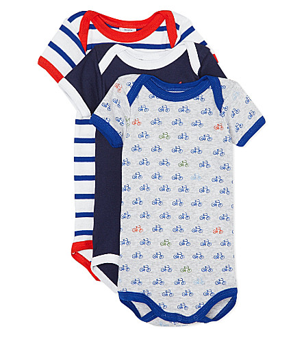 PETIT BATEAU Pack of three striped babygrows 1-36 months (Multicolor