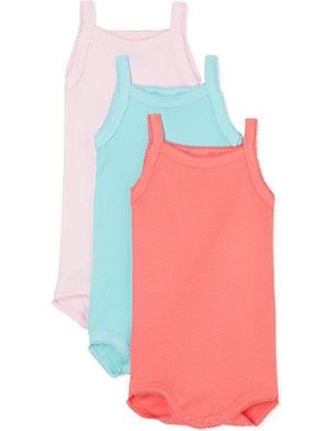 PETIT BATEAU Pack of three sleeveless babygrow 1 month - 4 years