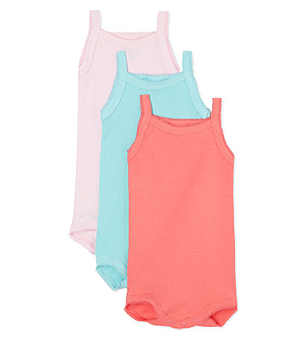 PETIT BATEAU Pack of three sleeveless babygrow 1 month - 4 years (Multicolor