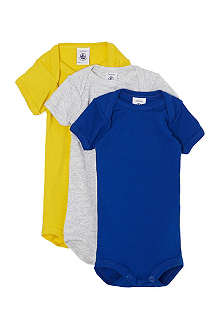 PETIT BATEAU Set of three short-sleeved babygrows 1-36months