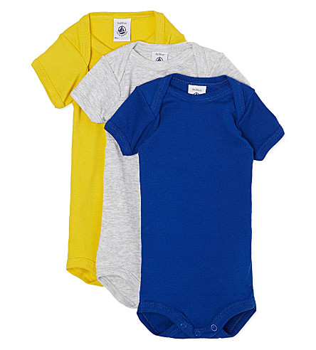 PETIT BATEAU Set of three short-sleeved babygrows 1 - 36 months (Multicolor