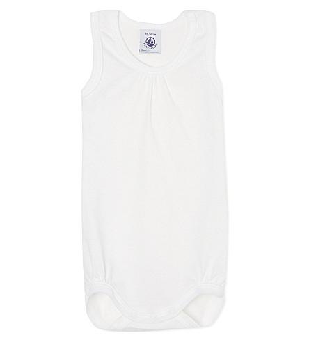 PETIT BATEAU Fine jersey bodysuit (Off+white