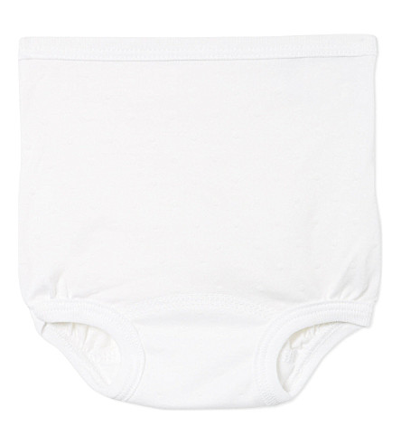 PETIT BATEAU Frilled knickers 3-36 months (Off+white