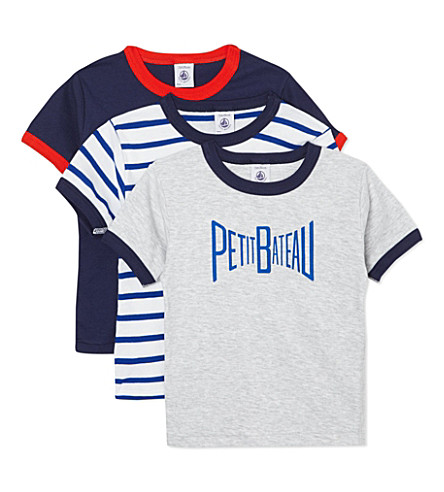 PETIT BATEAU Pack of three T-shirts 2-12 years (Multicolor