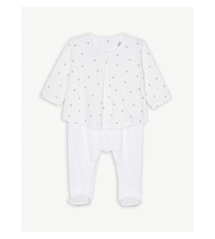 PETIT BATEAU Star print cotton blouse babygrow newborn-12 months (White+and+brown