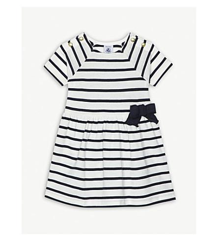 PETIT BATEAU Bow striped cotton dress 3-36 months (White+and+blue