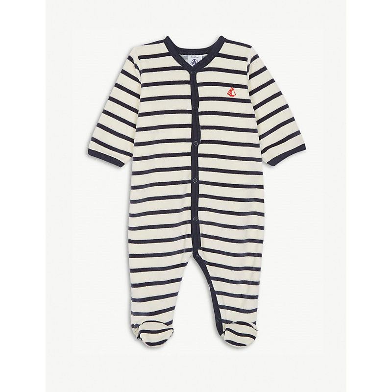PETIT BATEAU | Striped Velour Sleepsuit Newborn-24 Months | Goxip