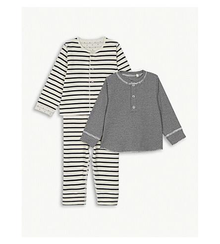 PETIT BATEAU Cotton cardigans and leggings 3-piece set 1-12 months (Beige+and+blue